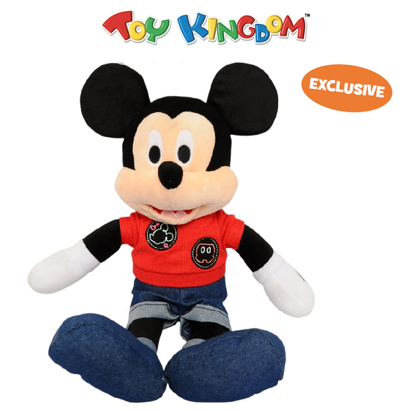 Disney Mickey Mouse 14-Inch Mickey Mouse with Red Shirt and Jeans Plush Toy for Kids