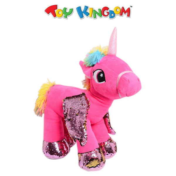 Unicorn Plush Toy with Sequins Wings (Pink) for Kids