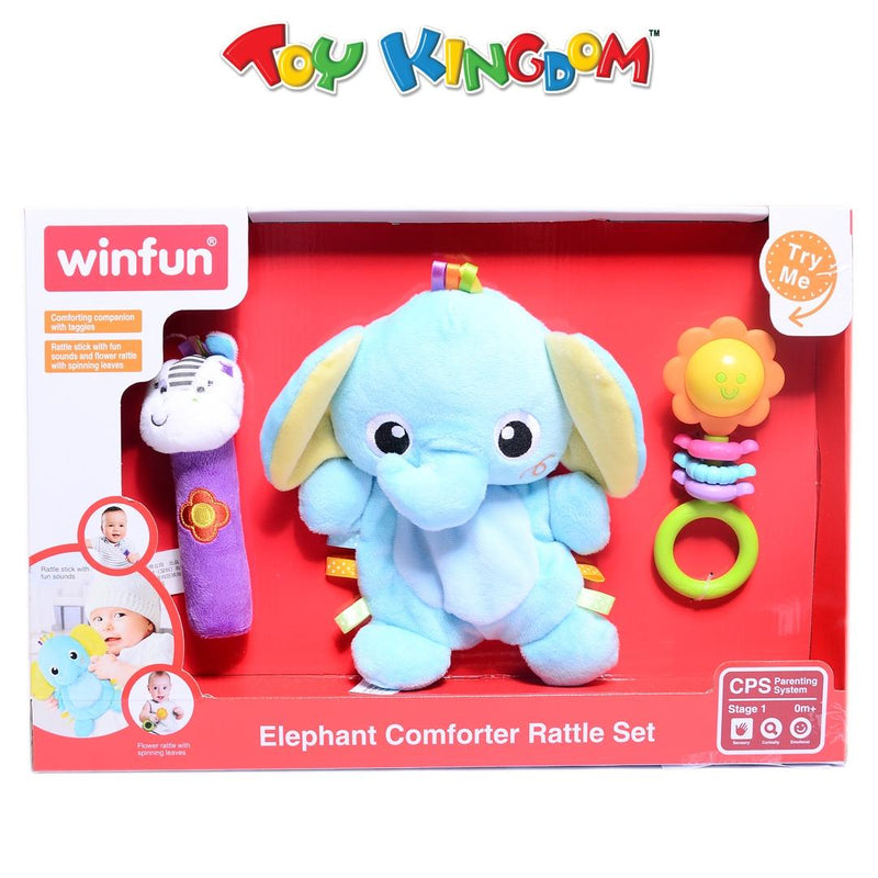 Winfun Elephant Comforter Rattle Set for Babies