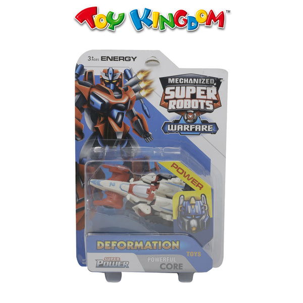 Plane Transformable Super Robot White and Red for Kids