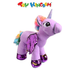 Unicorn Plush Toy with Sequins Wings (Purple) for Kids
