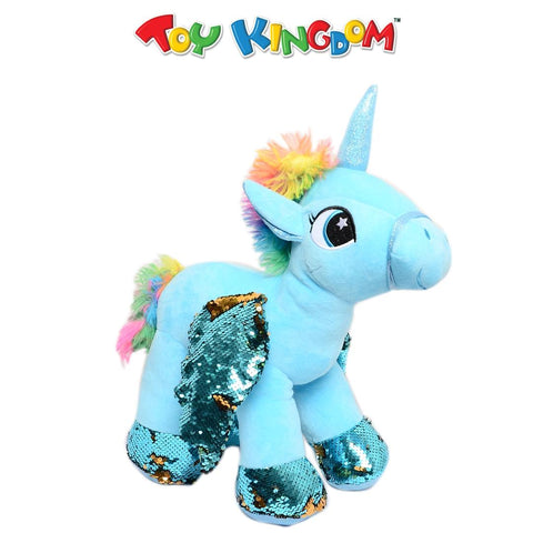 Unicorn Plush Toy with Sequins Wings (Blue) for Kids