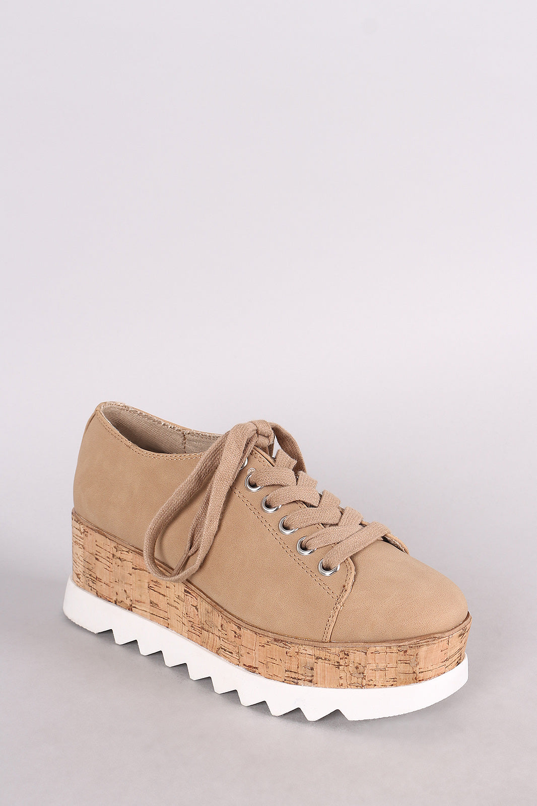 Bamboo Nubuck Lug Sole Lace Up Oxford Platform Wedge