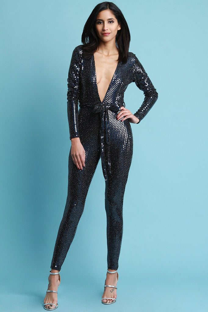 Deep V-Neck Square Holographic Jumpsuit