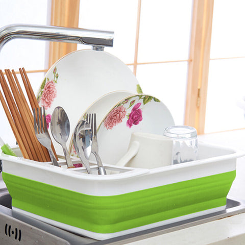 Folding Dish Rack Storage Box - household-ideals