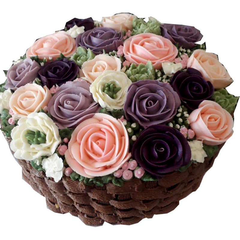 Flower Basket Cake (Chocolate Cake with Butter Cream Flowers 1kg)