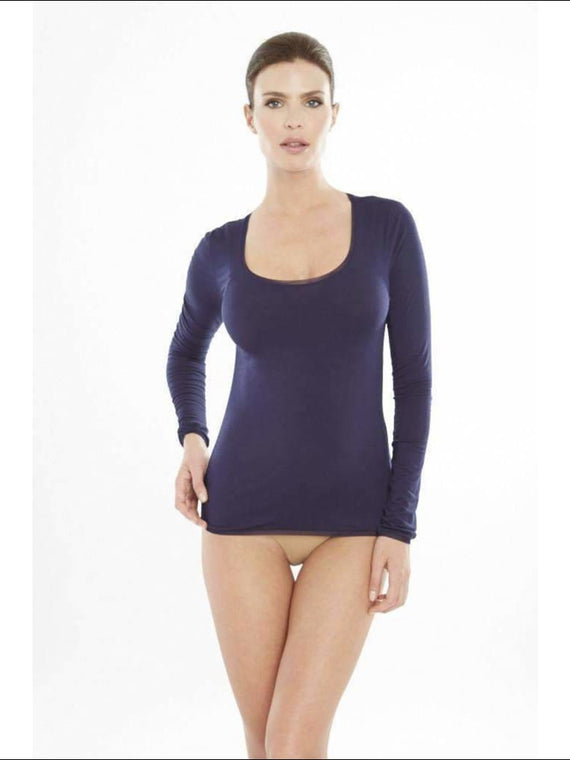 Addiction Douceur Long Sleeve Top - Navy / Xs - Top Lingerie Theory Lingerietheory.com
