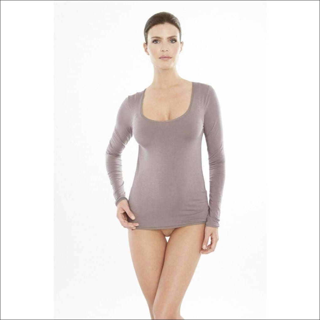 Addiction Douceur Long Sleeve Top - Taupe / Xs - Top Lingerie Theory Lingerietheory.com
