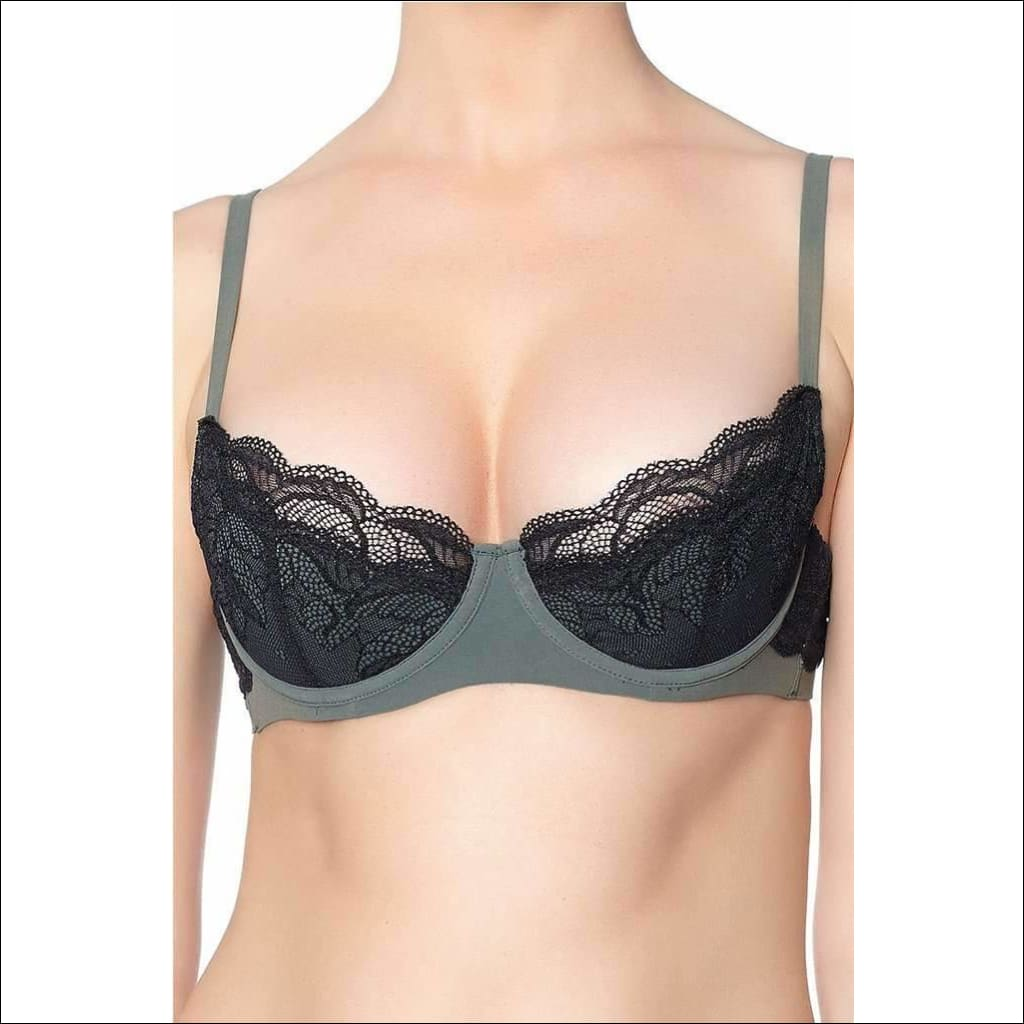 Addiction Lingerie Fashion Collection Midnight Treat Padded Bra - Black/green / 32B - Bra Lingerie Theory Lingerietheory.com