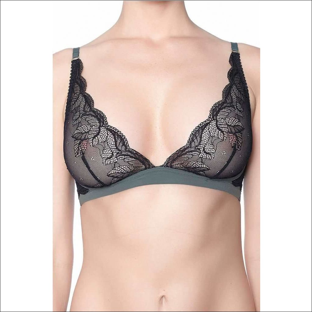 Addiction Lingerie Fashion Collection Midnight Treat Triangle Bra - Black/green / Xs - Bra Lingerie Theory Lingerietheory.com
