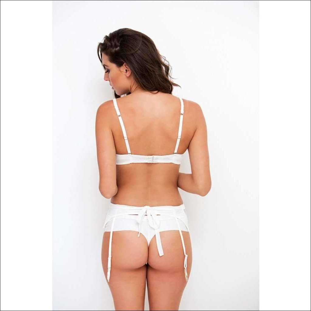 Adorn Les Dessous -Lace And Silk Bow Garter Belt - Bottom Lingerie Theory Lingerietheory.com