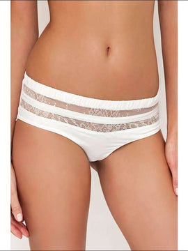 Adorn Les Dessous - Silk Striped Shorty - Ivory / Xs - Bottom Lingerie Theory Lingerietheory.com