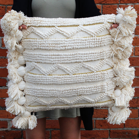 Square Looped Pillow with Tassels & Gold Threading