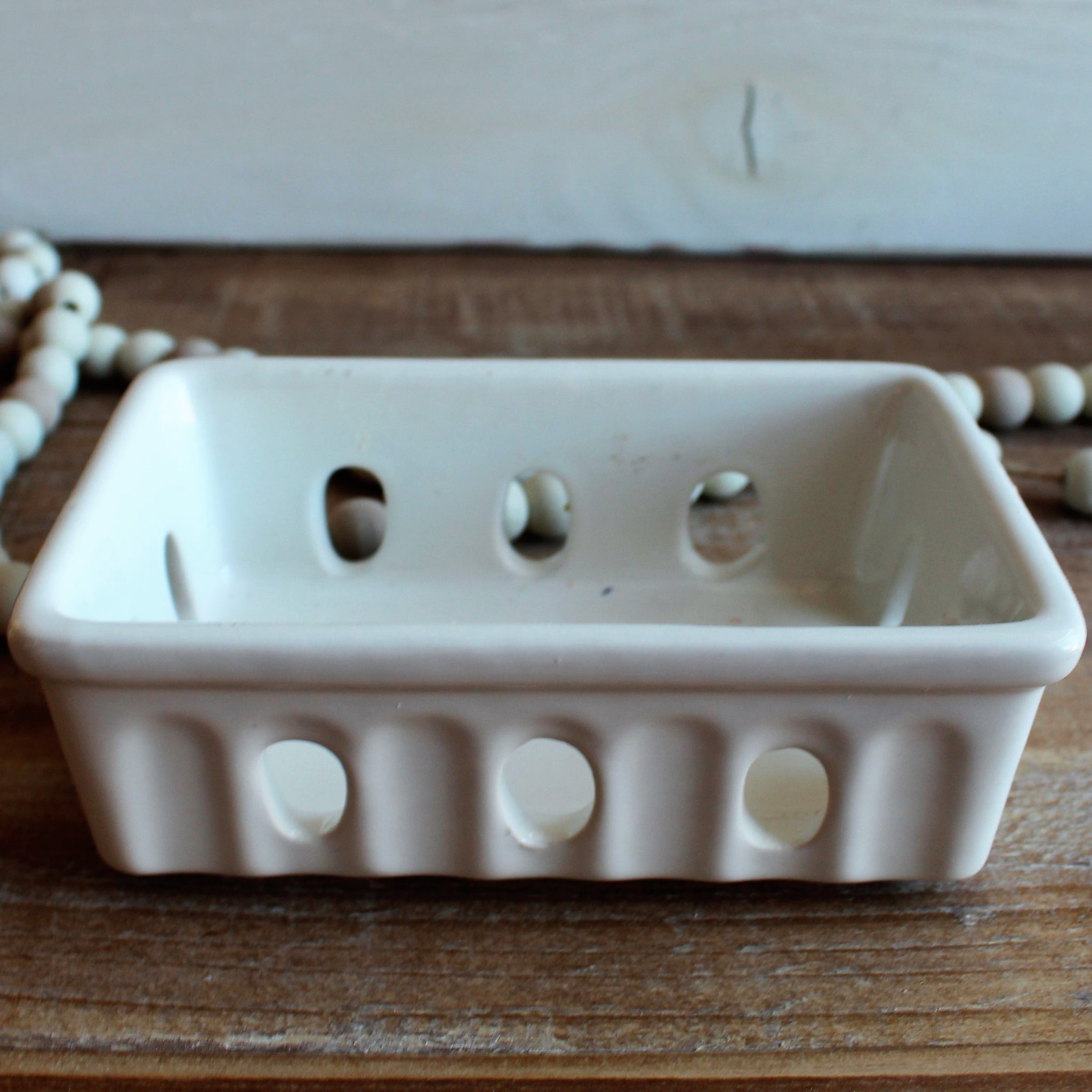 White Stoneware Soap Dish