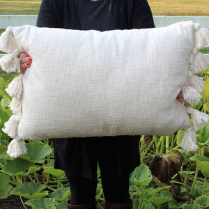 Cream Pillow w/ Tassels