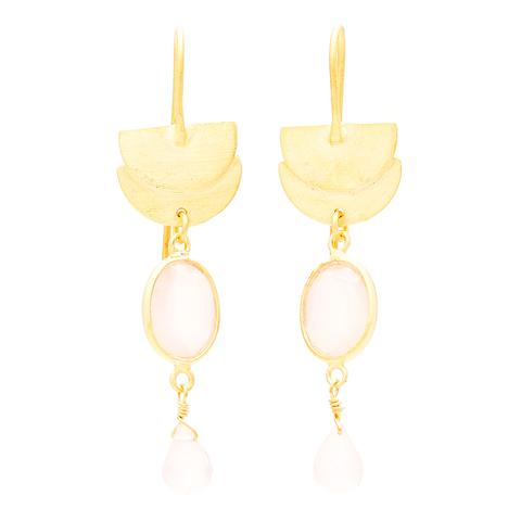 PINK CHALCEDONY DROP EARRINGS