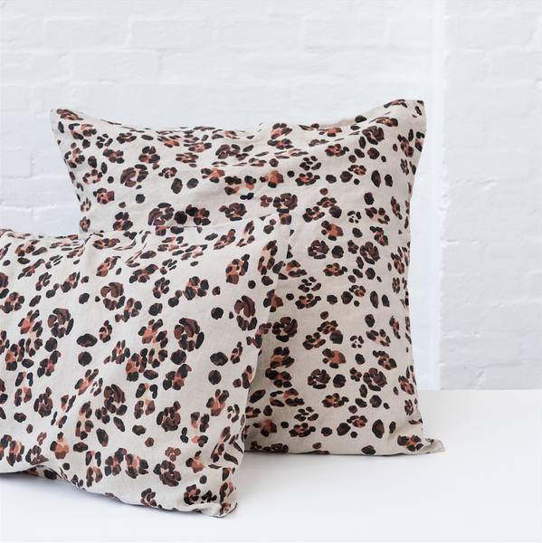 100% FRENCH FLAX LINEN LEOPARD STANDARD PILLOWCASE SET