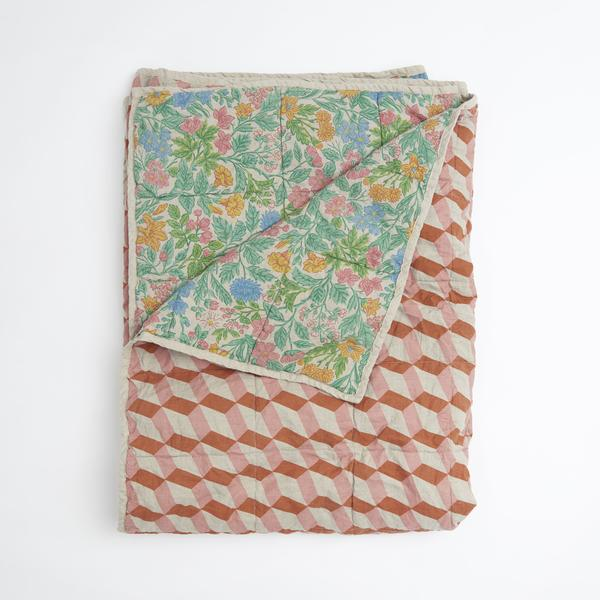 QUILT DOUBLE SIDED -GARDEN /TOBACCO TILES
