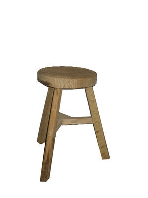 STOOL LOW FLAT RECYCLED ELM ROUND