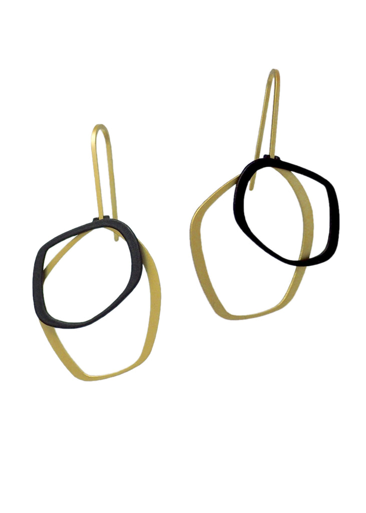 EARRING -X-2 SML GOLD BLACK