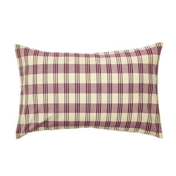 DARCY TICKING PILLOWCASE-RUBY