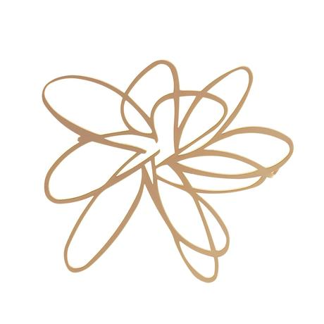 BROOCH -FLOWER -RAW STAINLESS STEEL 22CT MAATT GOLD PLATE