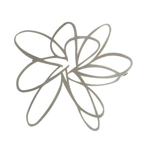 BROOCH- FLOWER RAW STAINLESS STEEL