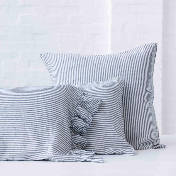 100% FRENCH FLAX LINEN  PILLOWCASE SET WITH RUFFLE -BLUE STRIPE