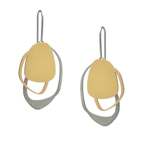 EARRING -X2- STONE -RAW /GOLD