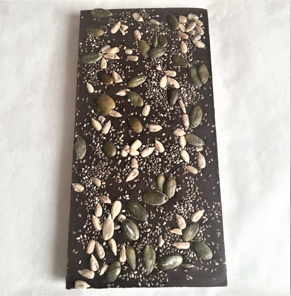 Single Origin Dark Chocolate, Chia, Sunflower & Pumpkin Seeds Bar 100g Venezuela 72%
