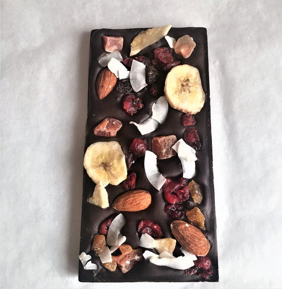 Fruit & Nuts Loaded Organic Grand Cru Dark Chocolate Bar 100g Madagscar 100%