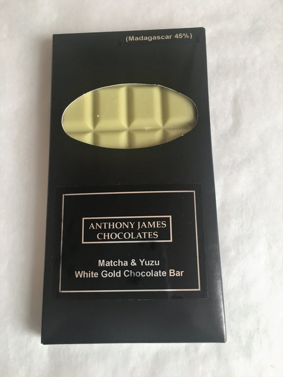 Matcha & Yuzu White Gold Chocolate Bar 100g- Single Origin Madagascar 45%