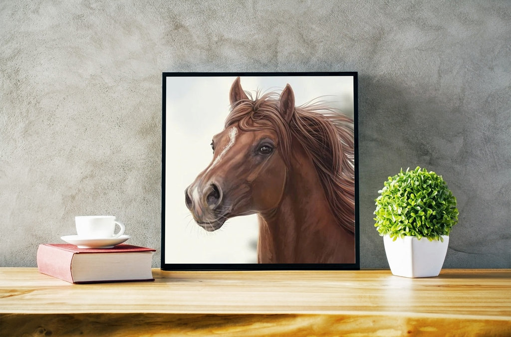 Broderie diamant <br /> Portrait de cheval marron - Diamant Zen