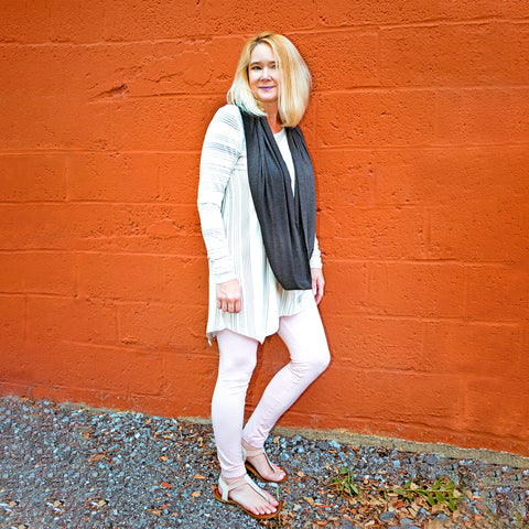 Long Sleeve Tunic - Cream and Stripes