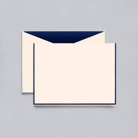 Navy Bordered on Ecru Folded Note by Crane