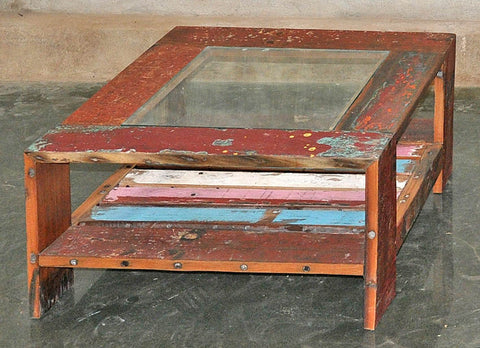 Coffee Table with Glass 32x32 - #112