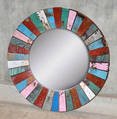 ROUND PATCHWORK MIRROR