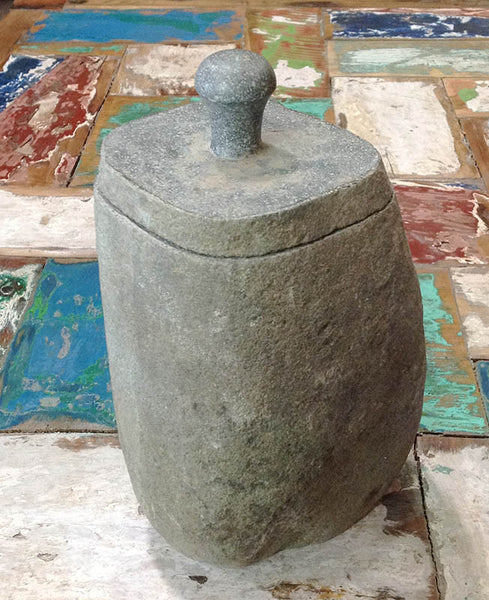 Stone Jar With Lid - Medium - #99M