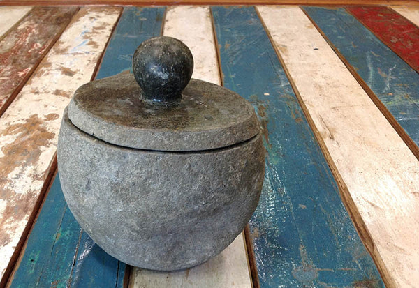Stone Jar With Lid - Small - #99M