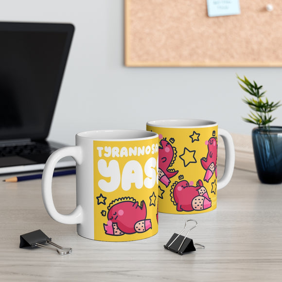 TyrannosaurYass! Mug - A fabulous dinosaur giving you sassy poses in mug form by The Happy Chappo