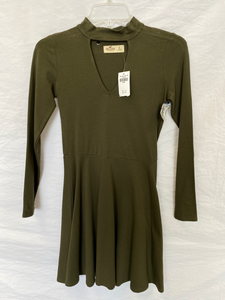 NWT Olive Green Hollister Long Sleeve Skater Dress Size Small