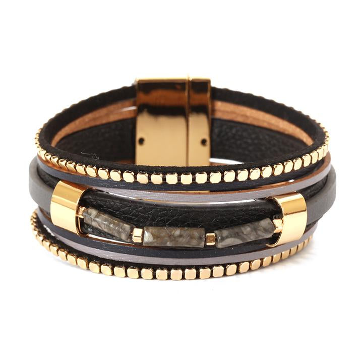 Leather Magnetic Wrap Bracelet Grey