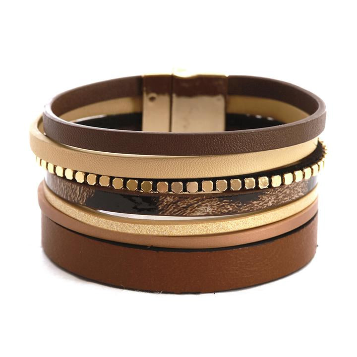 Leather Magnetic Wrap Bracelet Brown