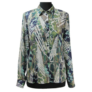 ERFO Leaf Print Blouse Green