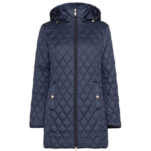 Geox Ascythia Long Quilted Jacket Navy