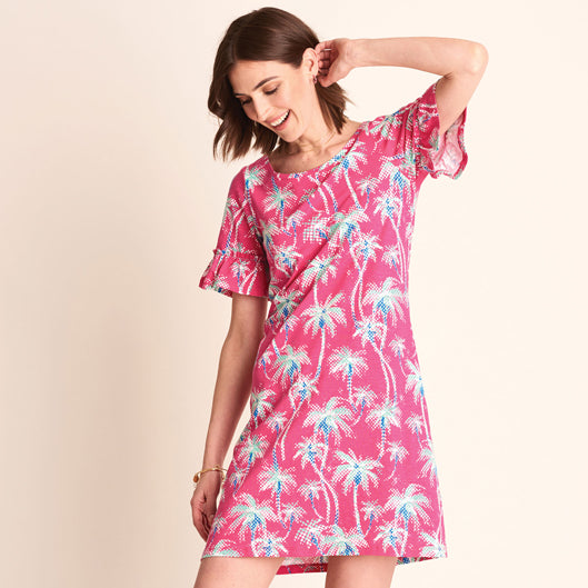 Hatley Kelli Dress Fuchsia Palm Mirage
