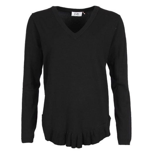 I Say Rubi Frilled Hem Sweater Black