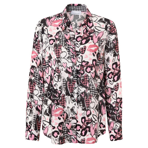 Just White Pink Hearts Print Blouse