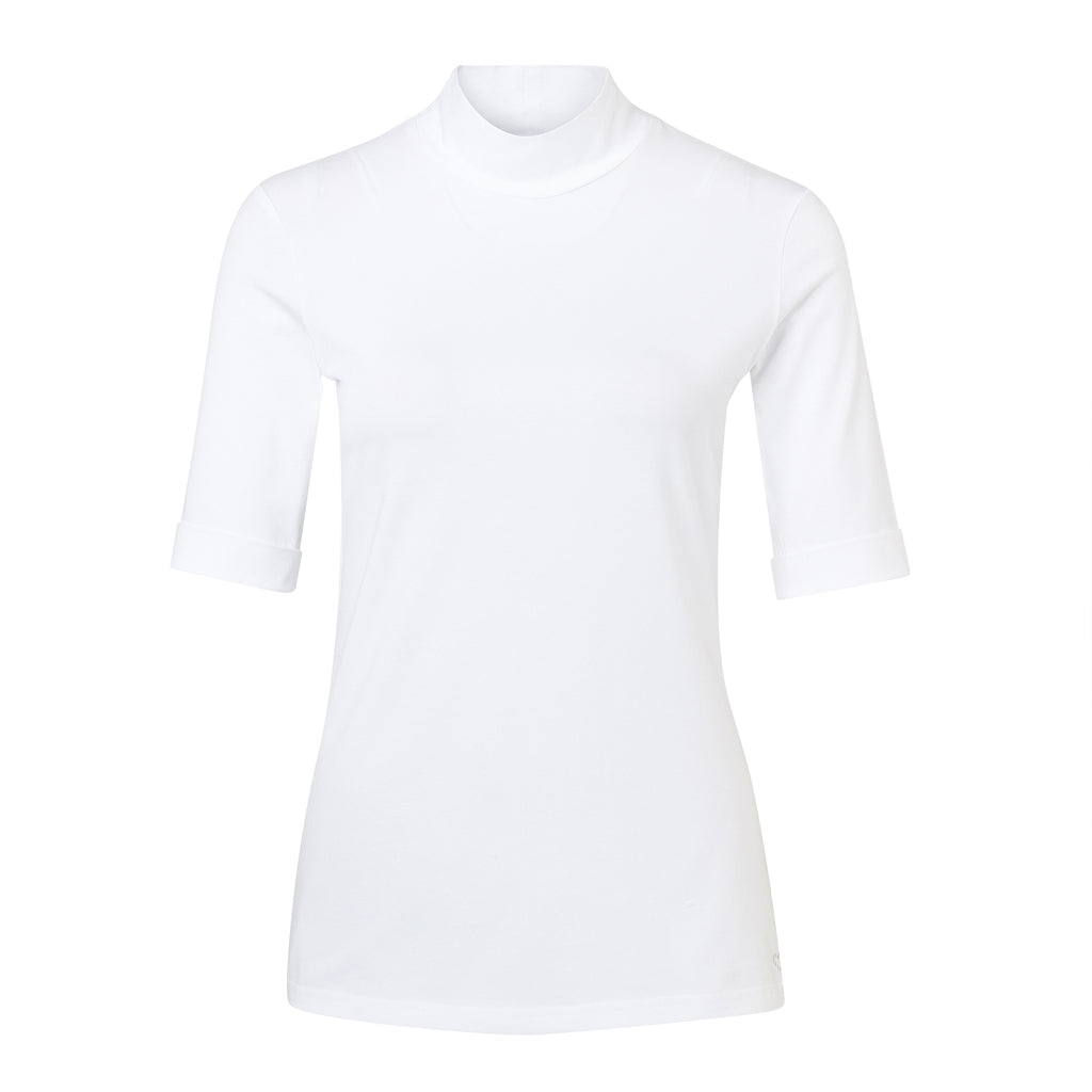 Just White High Neck Short Sleeve Top White