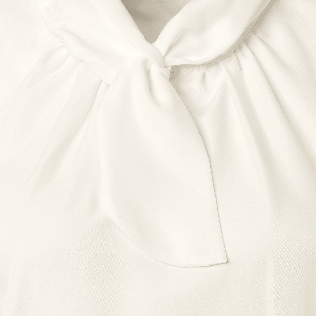 Just White Tie Neck Blouse Off White